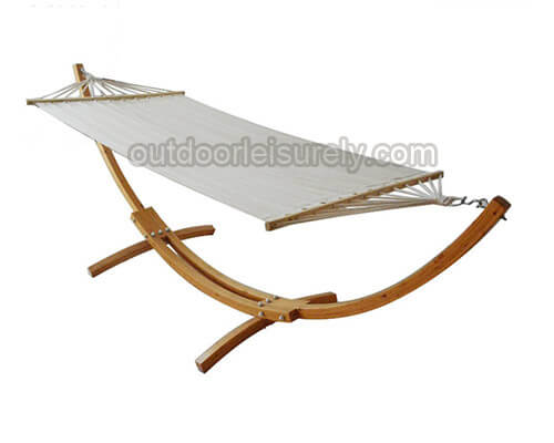 Wooden Curved Arc Hammock Stand with Hammock 1