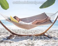 Wooden Curved Arc Hammock Stand with Hammock 3