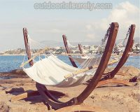 Wooden Curved Arc Hammock Stand with Hammock 4